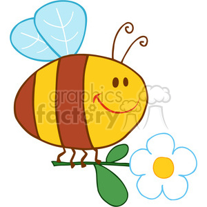 4715-Royalty-Free-RF-Copyright-Safe-Happy-Bee-Fflying-With-Flower clipart. Commercial use image # 384446