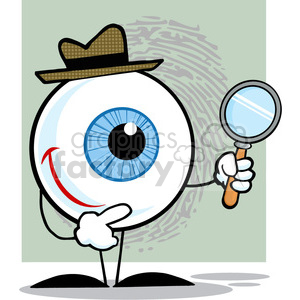 4665-Royalty-Free-RF-Copyright-Safe-Smiling-Detective-Eyeball-Holding-A-Magnifying-Glass clipart. Royalty-free image # 384456