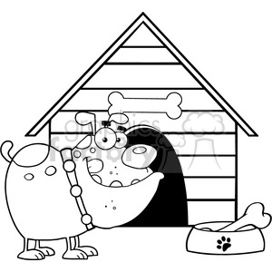 cartoon funny silly drawing draw illustration comical comics black white dog house bone