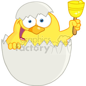 Royalty-Free-RF-Copyright-Safe-Happy-Yellow-Chick-Peeking-Out-Of-An-Egg-And-Ringing-A-Bell clipart. Royalty-free image # 384486