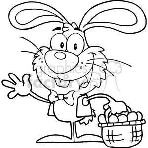 Royalty-Free-RF-Copyright-Safe-Waving-Bunny-With-Easter-Eggs-And-Basket clipart. Royalty-free image # 384491
