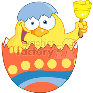 Royalty-Free-RF-Copyright-Safe-Happy-Yellow-Chick-Peeking-Out-Of-An-Easter-Egg-And-Ringing-A-Bell clipart. Commercial use image # 384501