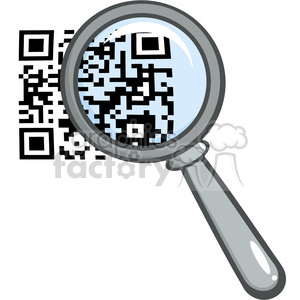 4772-Royalty-Free-RF-Copyright-Safe-Magnifying-Glass-Zooming-In-On-A-QR-Identification-Code clipart. Royalty-free image # 384506