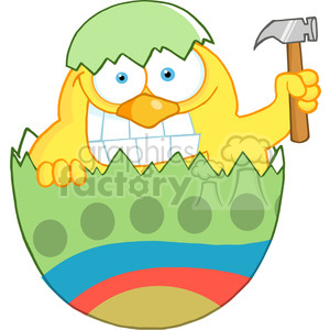 Royalty-Free-RF-Happy-Chick-With-A-Big-Toothy-Grin-Peeking-Out-Of-An-Easter-Egg-With-Hammer clipart. Royalty-free image # 384541