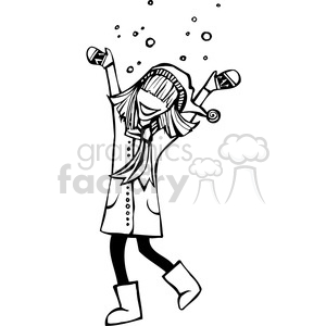 girl playing in the snow clipart. Commercial use image # 384740