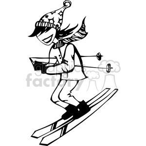 girl skiing clipart. Commercial use image # 384750