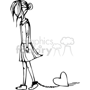 girl with a heart chained to her ankle clipart. Commercial use image # 384770