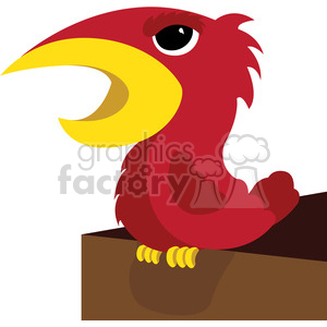 red cartoon angry bird character clipart. Royalty-free image # 384786