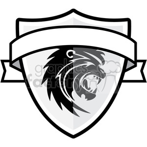 shield with lion and ribbon