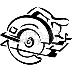 black and white cicular saw clipart. Commercial use image # 384958