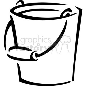 black and white bucket clipart. Commercial use image # 384988