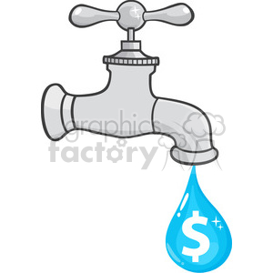 12879 RF Clipart Illustration Water Faucet With Dollar Dripping clipart. Royalty-free image # 385058