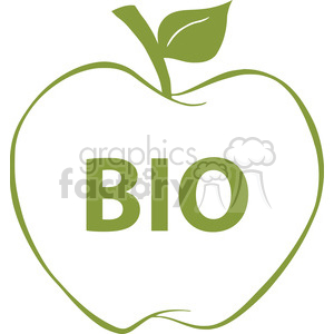 12921 RF Clipart Illustration Apple With Green Outline And Text BIO clipart. Commercial use image # 385108