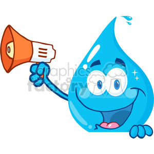 12869 RF Clipart Illustration Smiling Water Drop Holding Up A Megaphone Over A Sign clipart. Royalty-free image # 385118