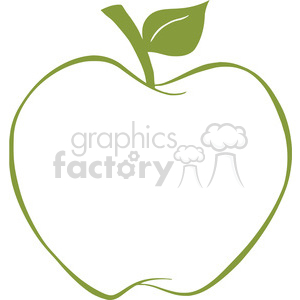 12920 RF Clipart Illustration Apple With Green Outline clipart. Commercial use image # 385158