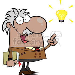 12826 RF Clipart Illustration African American Professor With An Idea clipart. Royalty-free image # 385178