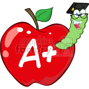 cartoon funny education school learning apple worm A grades character happy red