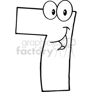 5007-Clipart-Illustration-of-Number-Seven-Cartoon-Mascot-Character clipart. Commercial use image # 385218