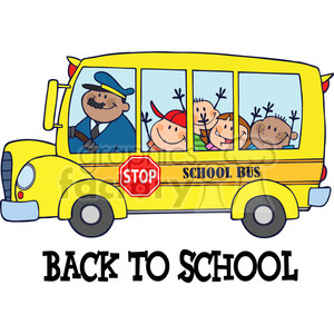 5048-Clipart-Illustration-of-Happy-Children-On-School-Bus-And-Text clipart. Royalty-free image # 385248