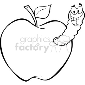 cartoon funny education school learning apple worm character happy black white