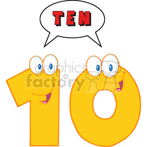 5029-Clipart-Illustration-of-Number-Ten-Cartoon-Mascot-Character-With-Speech-Bubble clipart. Commercial use image # 385268