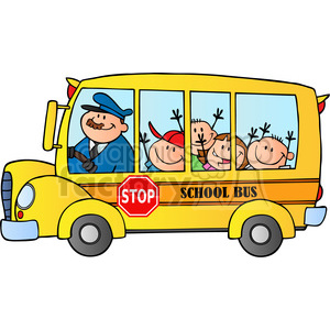 5046-Clipart-Illustration-of-School-Bus-With-Happy-Children clipart. Commercial use image # 385288
