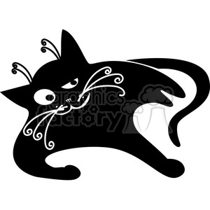 vector clip art illustration of black cat 022 clipart. Royalty-free image # 385378