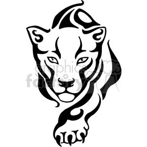 vector black+white animals wild outline vinyl-ready puma lion cat tattoo claw claws
