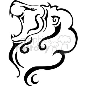 vector black+white animals wild outline vinyl-ready lion cat tattoo roar