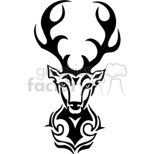 vector black+white animals wild outline vinyl-ready deer tattoo logo