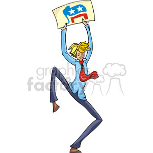 Republican man holding a sign for elections clipart. Commercial use image # 385609