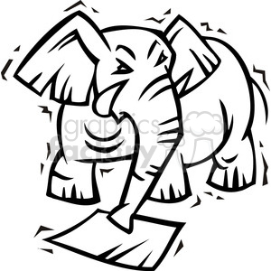 black and white image of a Republican elephant clipart. Royalty-free image # 385611