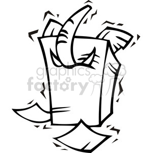 black and white image of a Republican elephant stuck in a stack of papers clipart. Royalty-free image # 385615
