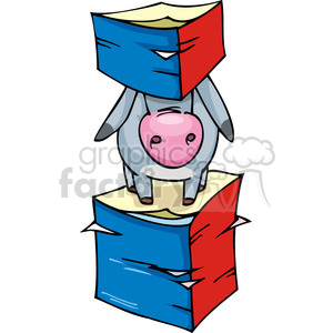 Democrat mascot stuck between documents clipart. Commercial use image # 385616