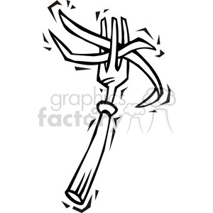 black and white image of a fork clipart. Commercial use image # 385618