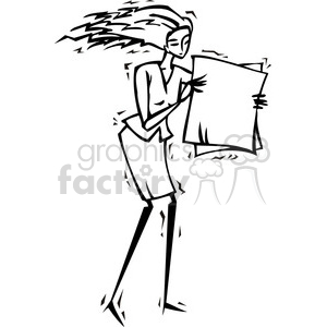 black and white image of a female holding a sign clipart. Royalty-free image # 385619