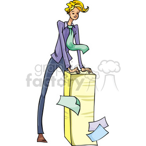 man standing over a huge stack of papers clipart. Royalty-free image # 385621