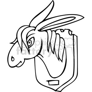 black and white clip art of a donkey head on the wall clipart. Royalty-free image # 385627