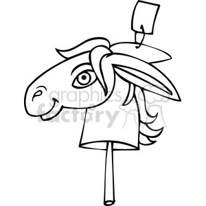 black and white clip art of a Democratic donkey on a stick