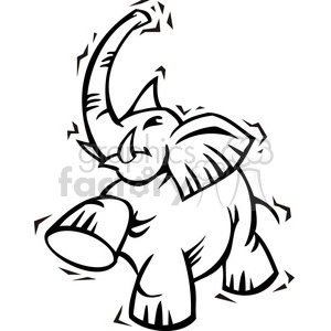 Republican black and white elephant clip art clipart. Royalty-free image # 385631