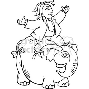 black and white Republican riding an elephant clipart. Commercial use image # 385632