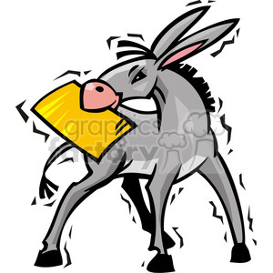 Democrat donkey with a document in it's mouth clipart. Commercial use image # 385636