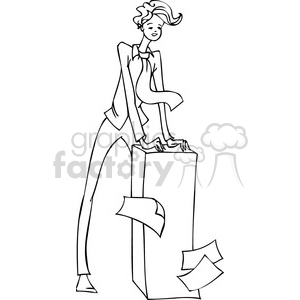 black and white image of a Democratic man standing over a stack of documents clipart. Commercial use image # 385645