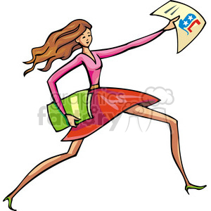 Republican female passing out papers clipart. Commercial use image # 385647