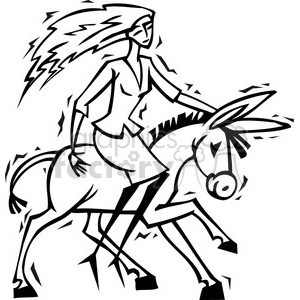 black and white Democrat lady riding a donkey clipart. Royalty-free image # 385648