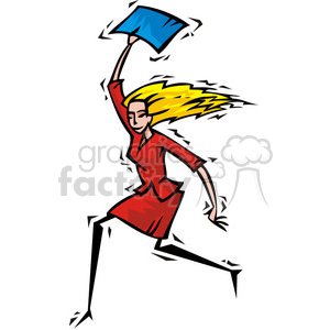 women wearing a red dress and holding a blue document clipart. Commercial use image # 385649