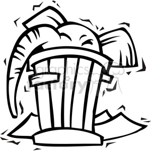 black and white clip art of a republican elephant in a trash can