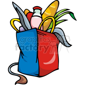 Democrat bag of groceries clipart. Royalty-free image # 385652
