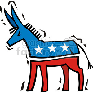Democrat donkey cartoon mascot clipart. Royalty-free image # 385661