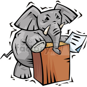 Republican elephant speaking at the podium clipart. Commercial use image # 385666